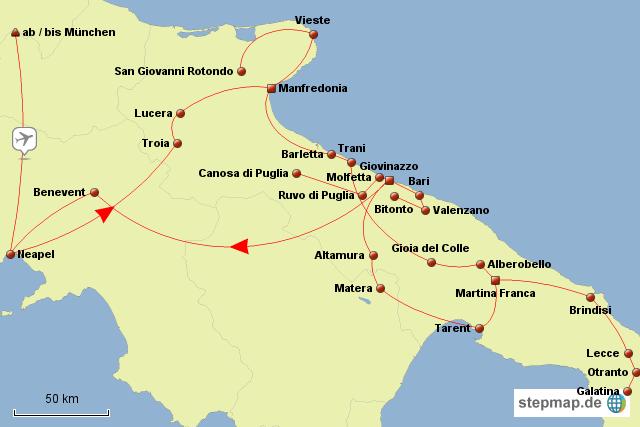 Apulien Karte Italien.Stepmap Apulien Land Der Kastelle Und Kathedralen Landkarte