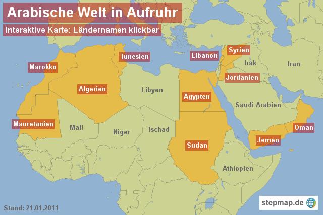 Stepmap Arabische Welt In Aufruhr Landkarte Fur Afrika