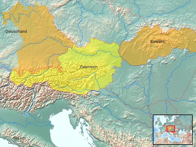 StepMap - Arbeitsgebiet Bayern, Österreich, Slowakei - Landkarte für Deutschland