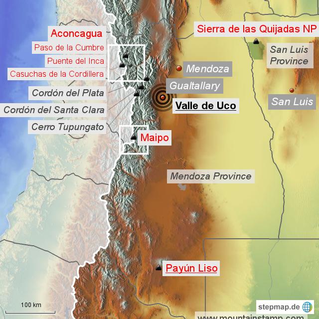Stepmap Argentina Mountains Mendoza Valle Uco Landkarte Für Asien