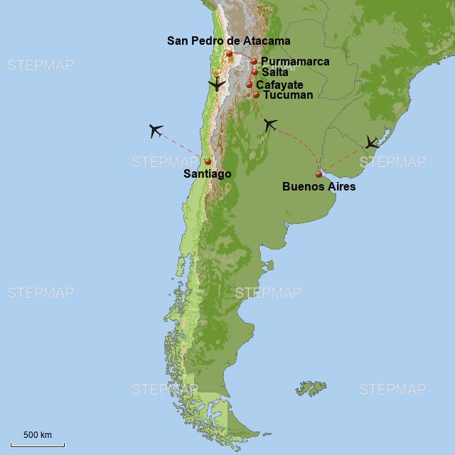 Atacama Wüste Karte.Stepmap Argentinien Chile Atacamawüste Und Hauptstädte