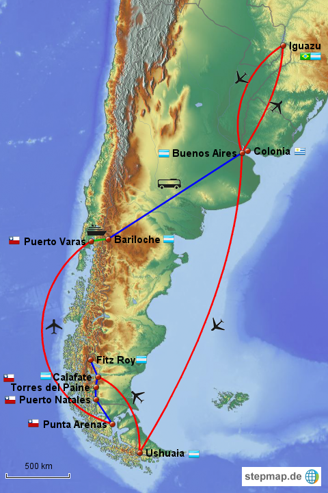 stepmap argentinien urlaub landkarte f r s damerika. Black Bedroom Furniture Sets. Home Design Ideas