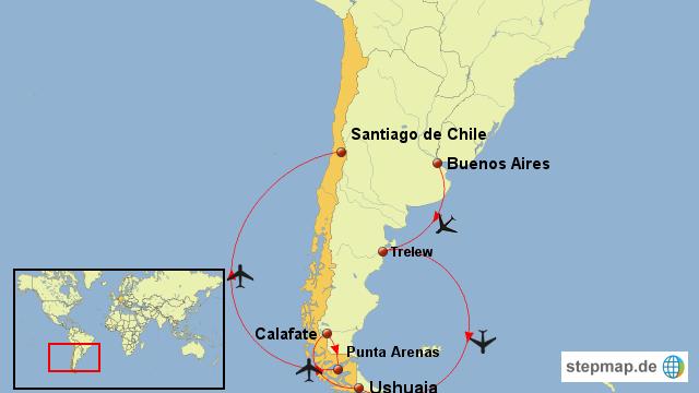 Chile Patagonien Karte.Stepmap Argentinien Und Chile Patagonien Pur Landkarte