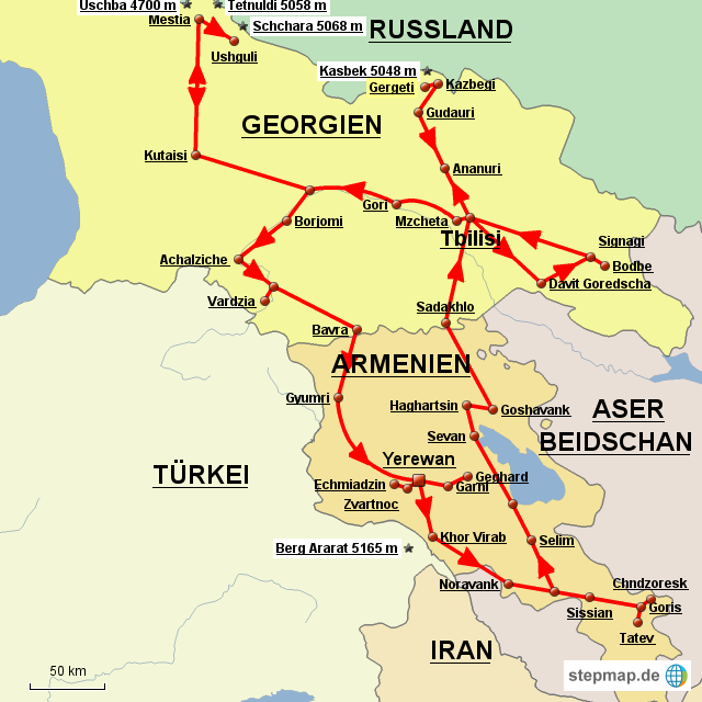 Armenien Karte.Stepmap Armenien Und Georgien Landkarte Fur Deutschland