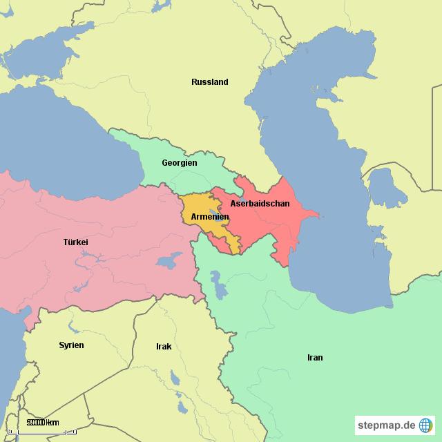 Karte Iran Nachbarlander.Stepmap Armenien Und Nachbarlander Landkarte Fur Armenien