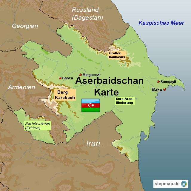 Baku Aserbaidschan Karte.Stepmap Aserbaidschan Karte Landkarte Fur Aserbaidschan
