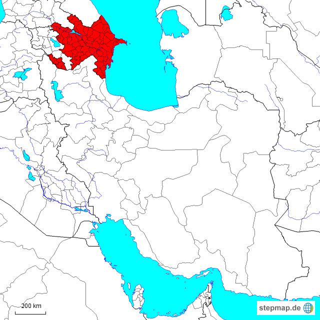 Stepmap Aserbaidschan Republik Und Iranische Provinz Landkarte Fur Asien