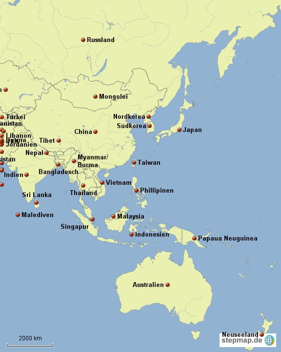 Asien Länder Karte.Stepmap Asien Länder Landkarte Für Deutschland