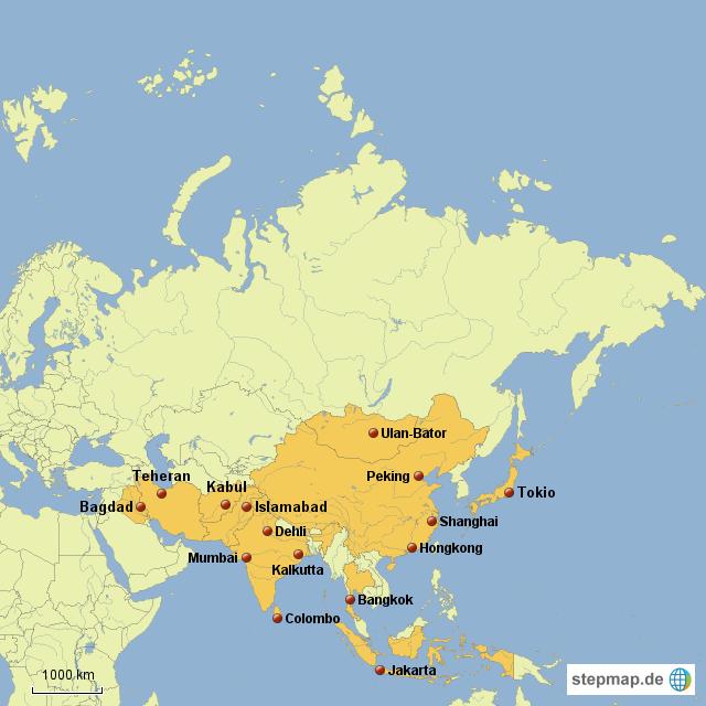 asien länder karte StepMap   Asien Länder Hauptstädte   Landkarte für Asien