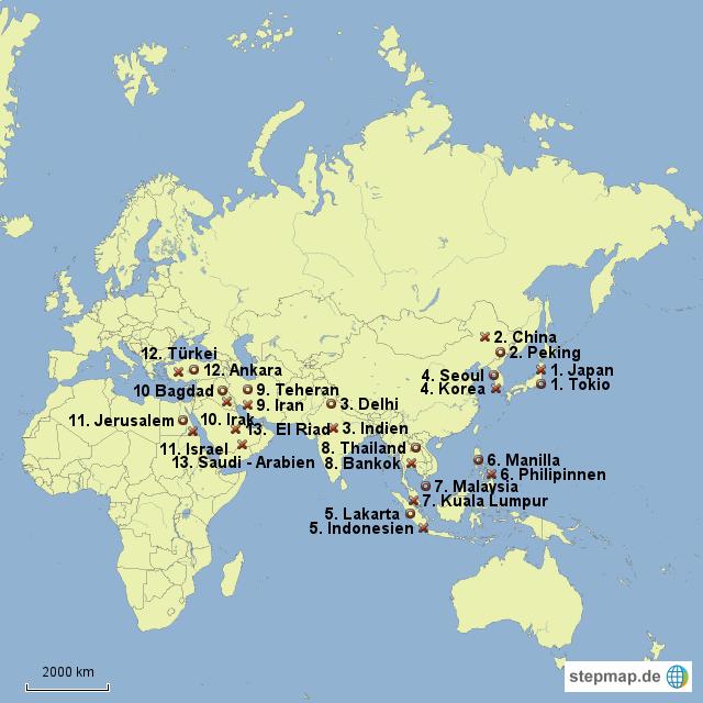Asien Länder Karte.Stepmap Asien Länder Mit Hauptstädten Landkarte Für Asien