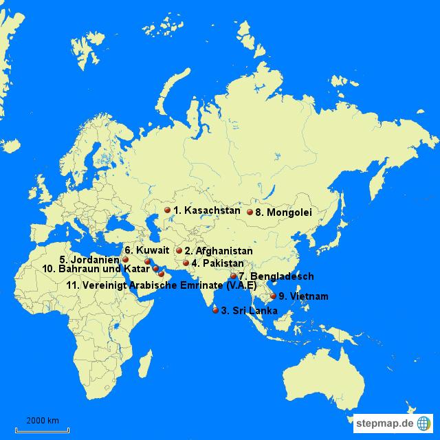 Stumme Karte Asien Lander Hauptstadte.Stepmap Asien Lander Ohne Hauptstadte Landkarte Fur Asien