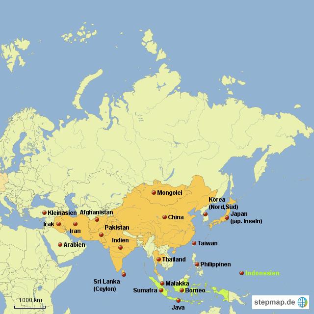 Asien Länder Karte.Stepmap Asien Länder Teilweise Landkarte Für Asien