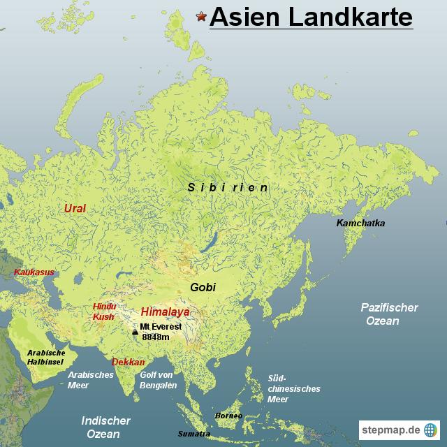 Karte Asien.Stepmap Asien Landkarte Landkarte Für Asien