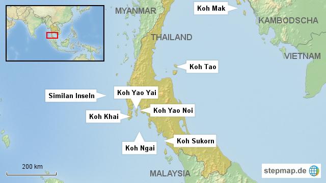 Thailand Inseln Karte.Stepmap Asien Thailand Inseln Landkarte Für Thailand