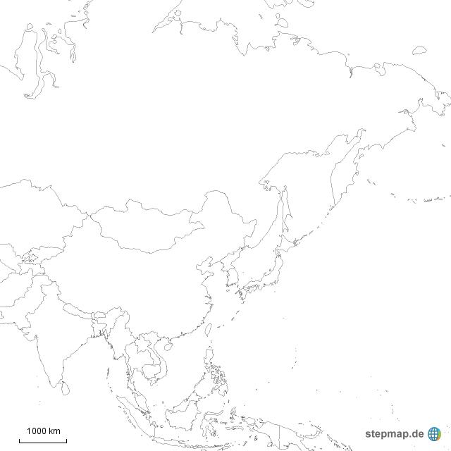 stepmap asien schwarz weiss landkarte f r asien. Black Bedroom Furniture Sets. Home Design Ideas