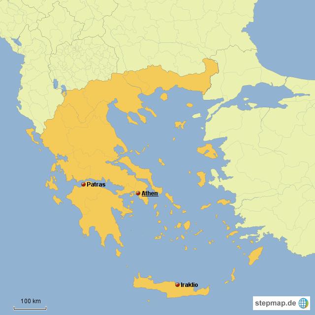 patras griechenland karte StepMap   Athen, Patras, Iraklio   Landkarte für Griechenland