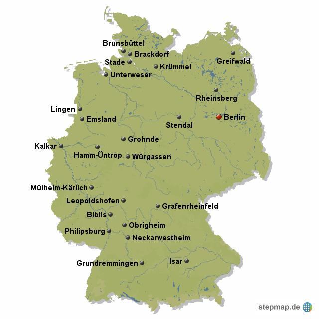 Atomkraftwerke Deutschland Karte.Stepmap Atomkraftwerke In Deutschland Landkarte Für Deutschland