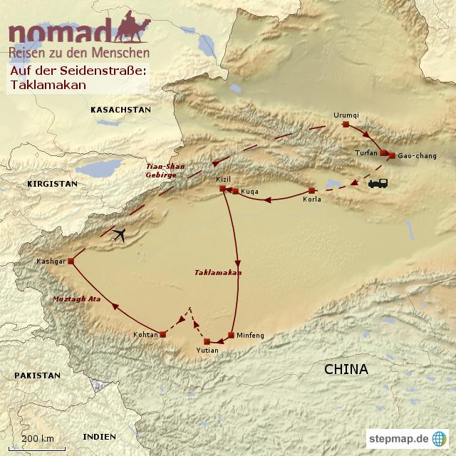 StepMap - Auf der Seidenstraße: Taklamakan - Landkarte für China