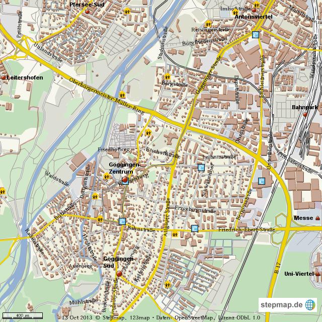 Karte Augsburg.Stepmap Augsburg Goggingen Landkarte Fur Welt