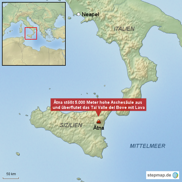 Sizilien Karte ätna.Stepmap Ausbruch Des ätna Auf Sizilien Landkarte Für Italien