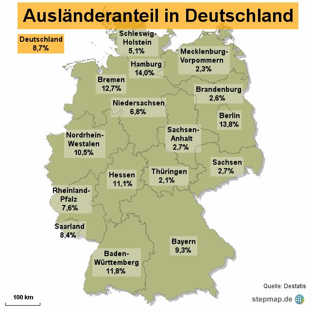 Deutschland Ausländeranteil