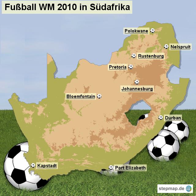 Stepmap Austragungsorte Der Fußball Wm 2010 In Südafrika