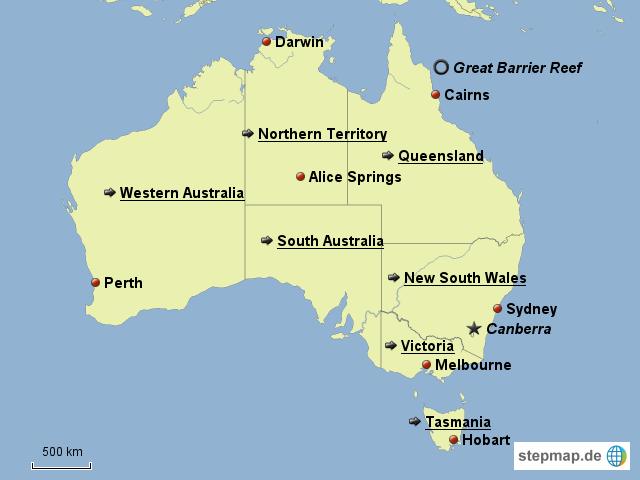 Karte Australien Englisch.Stepmap Australien Landkarte Fur Australien