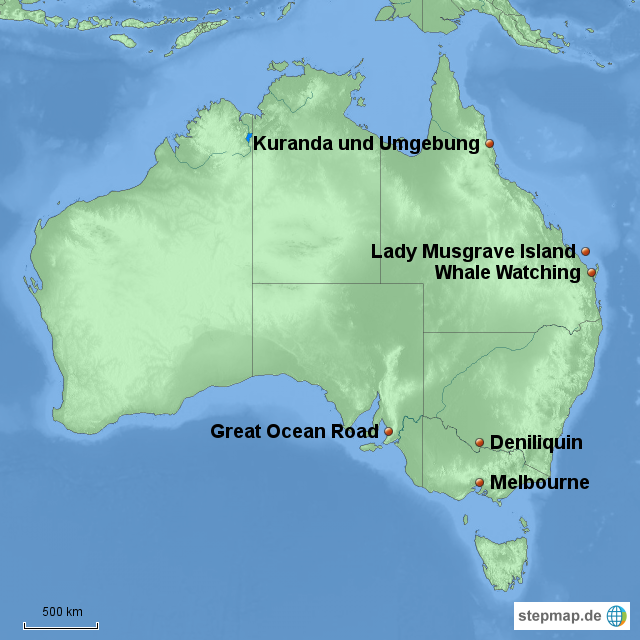 Karte Australien Und Umgebung.Stepmap Australien