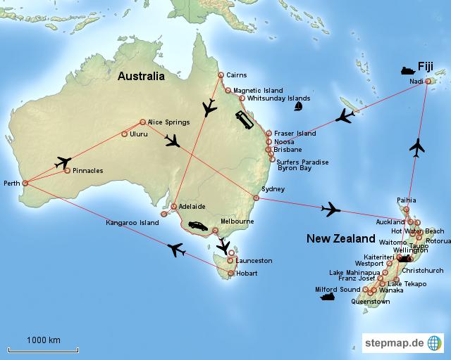 stepmap australien neuseeland fiji. Black Bedroom Furniture Sets. Home Design Ideas