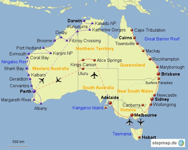 australien karte ostküste StepMap   Australien Ostküste + Zentum   Landkarte für Australien australien karte ostküste