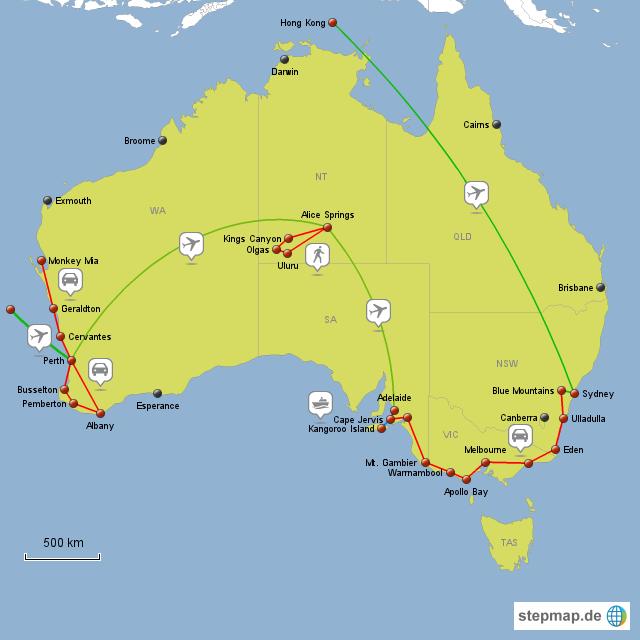 Karte Australien Und Umgebung.Stepmap Australien Reise Landkarte Für Australien