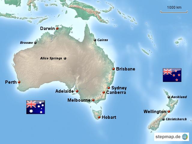stepmap australien und neuseeland. Black Bedroom Furniture Sets. Home Design Ideas