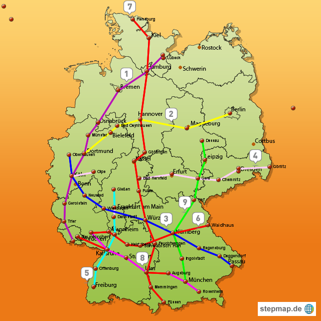 autobahnen karte StepMap   Autobahnen   Landkarte für Deutschland