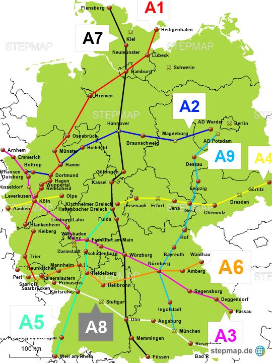 Deutschland Karte Autobahnen Und Städte.Stepmap Autobahnen Landkarte Für Deutschland