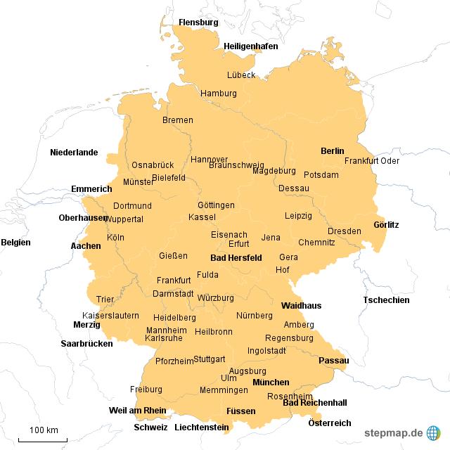 Deutschland Karte Autobahnen Und Städte.Stepmap Autobahnen Städte Landkarte Für Deutschland