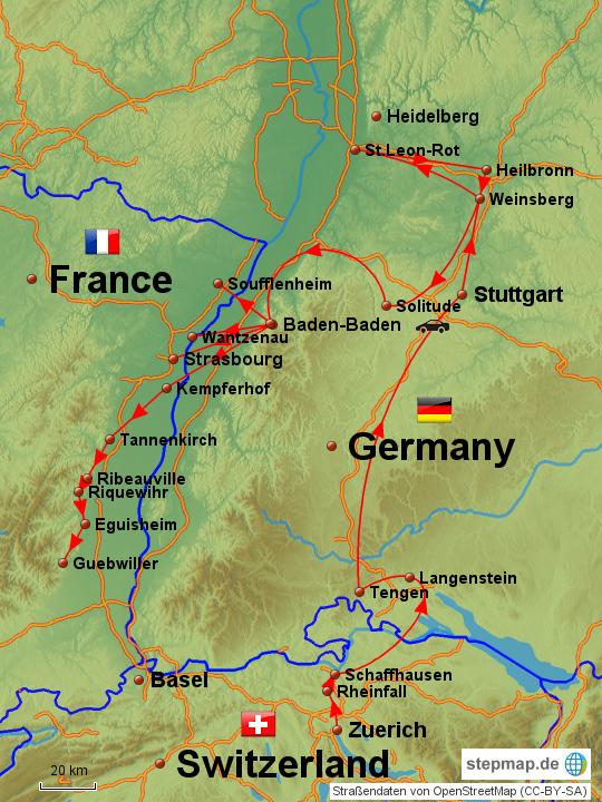 elsass landkarte StepMap   Autoreise durch Schwarzwald und Elsass   Landkarte für  elsass landkarte