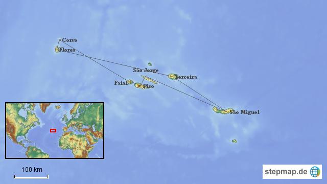 Azoren Karte.Stepmap Azoren Landkarte Für Deutschland