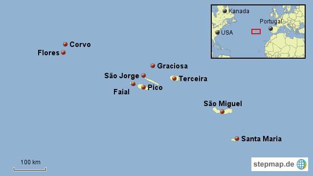 Azoren Karte Portugal.Stepmap Azoren Web Landkarte Für Portugal