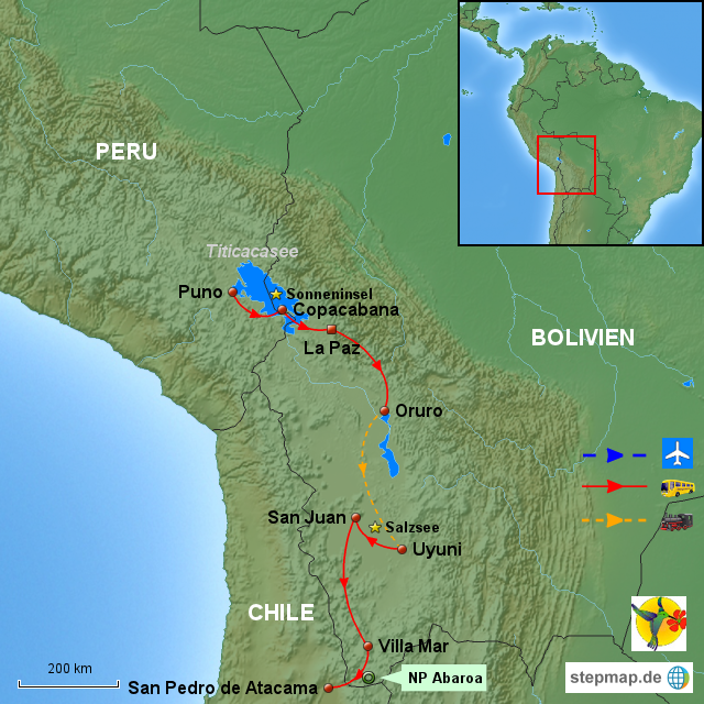 Atacama Wüste Karte.Stepmap Bol Vom Titicacasee In Die Atacama Wüste 7 Tage