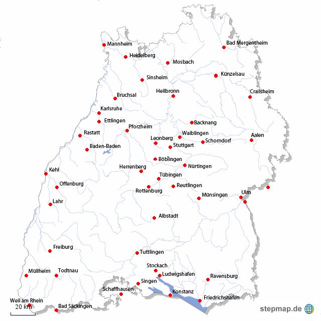 Karte württemberg in städte baden Baden Württemberg