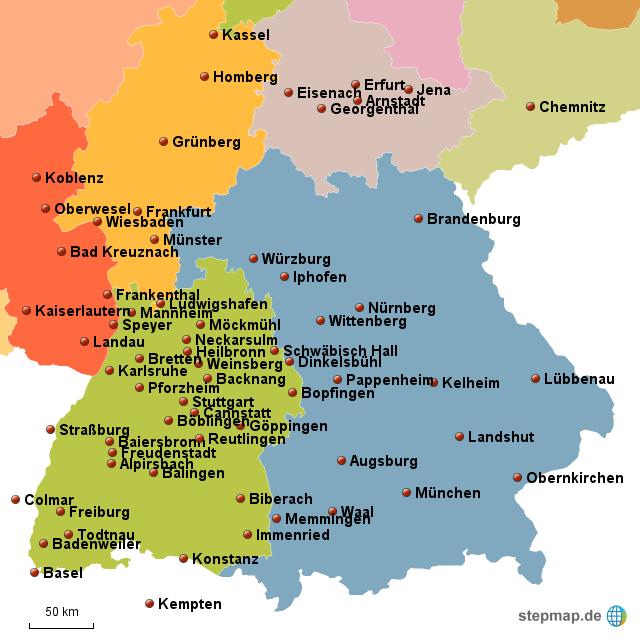 baden w rttemberg bayern von barbara1974 landkarte f r deutschland. Black Bedroom Furniture Sets. Home Design Ideas