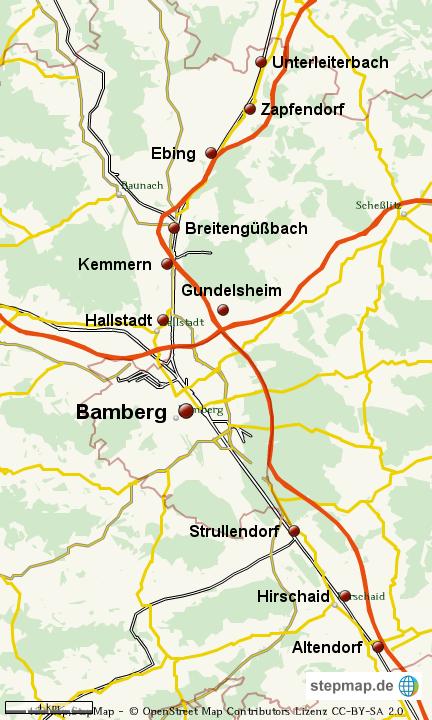 Karte Bamberg.Stepmap Bahnlinie Landkreis Bamberg Landkarte Fur