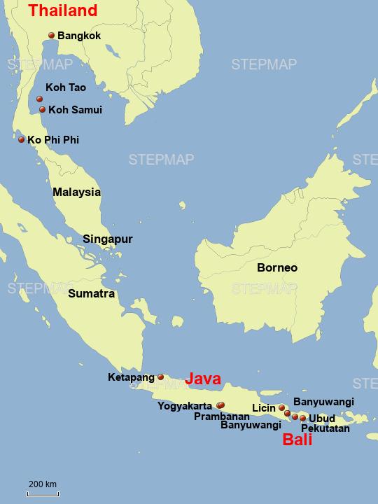 Bali Karte Asien.Stepmap Bali Java Thailand Landkarte Für Asien