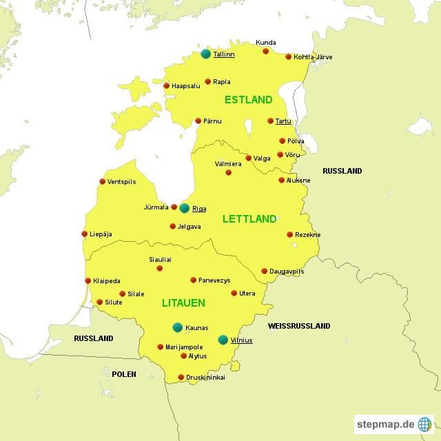 baltische staaten karte StepMap   Baltische Staaten   Landkarte für Europa baltische staaten karte