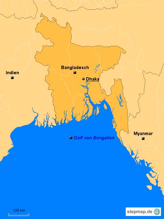 bangladesch karte StepMap   Bangladesch politische karte   Landkarte für Bangladesch