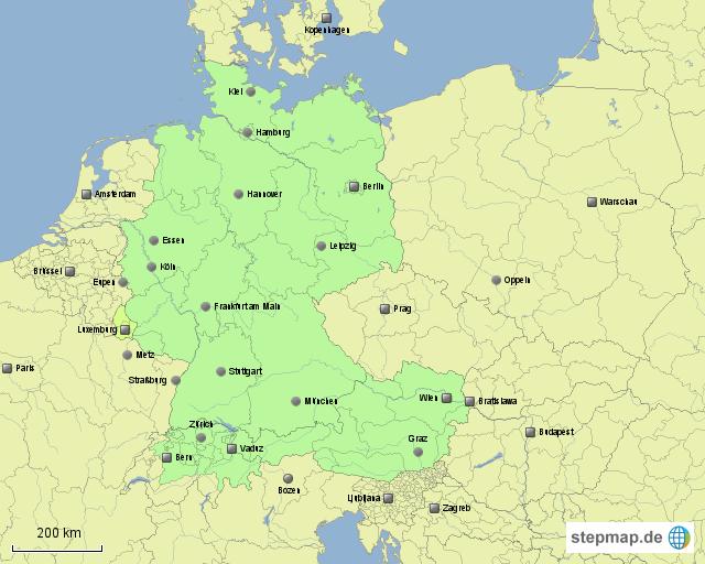 Stepmap Basiskarte Verbreitung Der Deutschen Sprache Landkarte