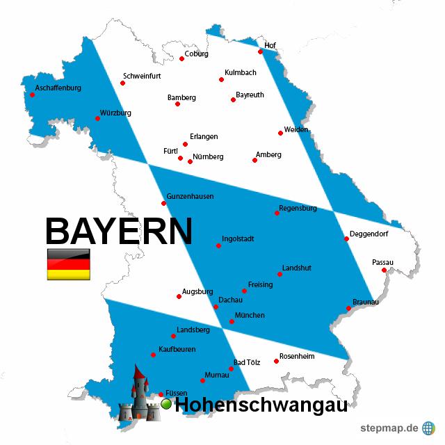 landkarte von bayern StepMap   Bayern, Flaggenfarbe   Landkarte für Deutschland landkarte von bayern