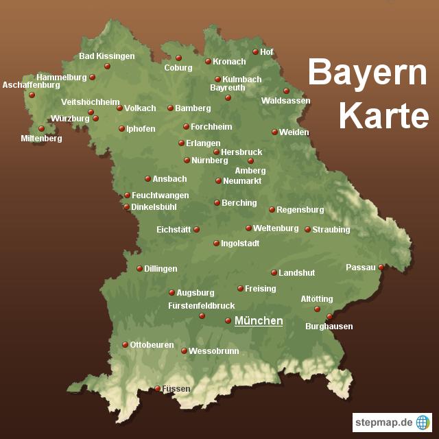 landkarte von bayern StepMap   Bayern Karte   Landkarte für Deutschland landkarte von bayern