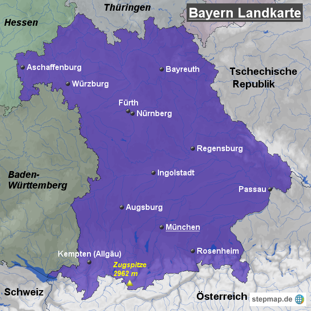 bayern landkarte StepMap   Bayern Landkarte   Landkarte für Deutschland bayern landkarte
