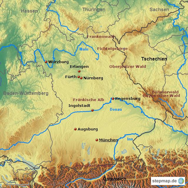 Bayern Karte Physisch